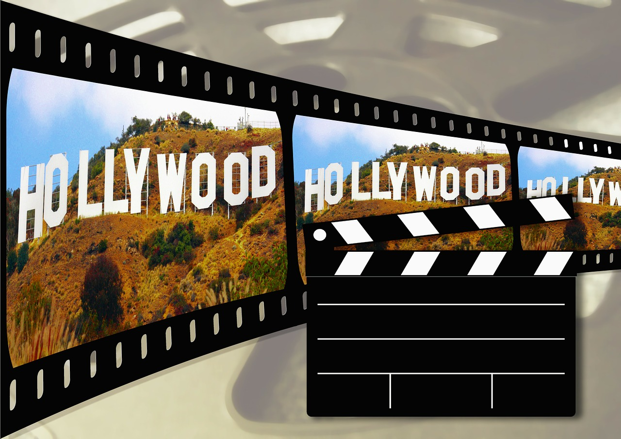 """A graphic of a film roll with the word, """"Hollywood"""" on it."""