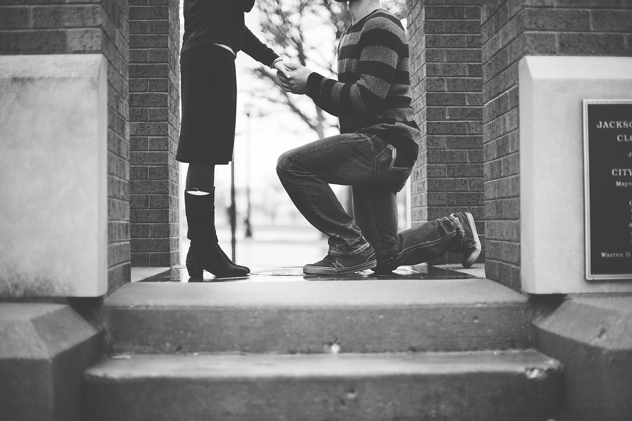 Couple getting engaged.