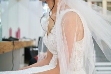 Bride wearing her gown.