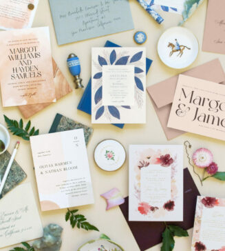 Minted and Brides' exclusive stationery collection.
